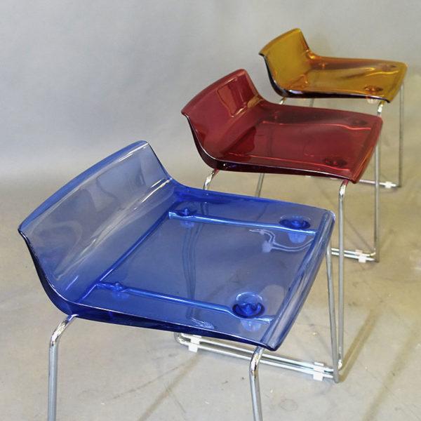 Begagnade stolar Quid blå - Begagnade stolar Quid röd - Begagnade stolar Quid orange