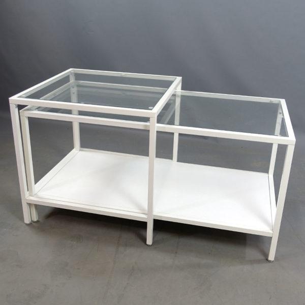 Begagnade soffbord med glasskiva