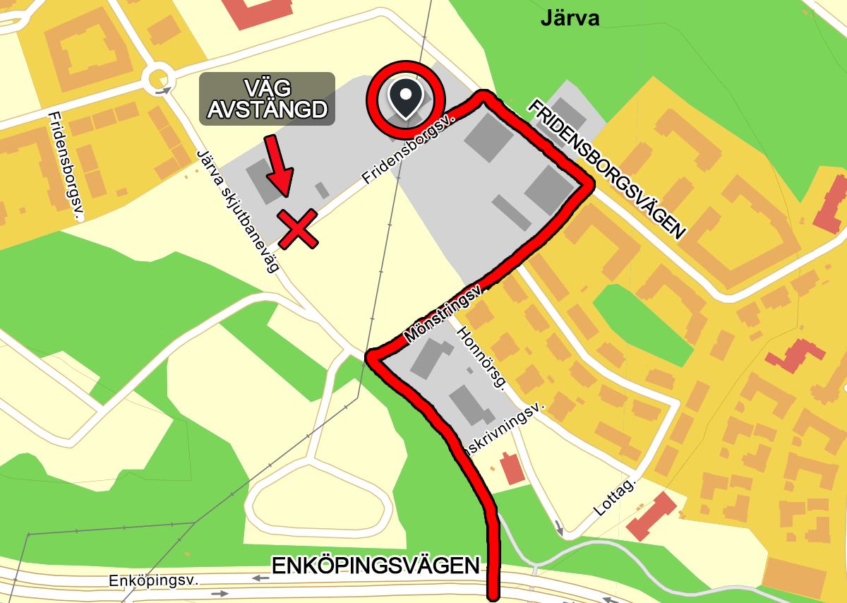 Karta avstängd väg
