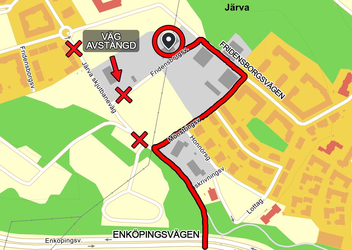 Karta - väg avstängd