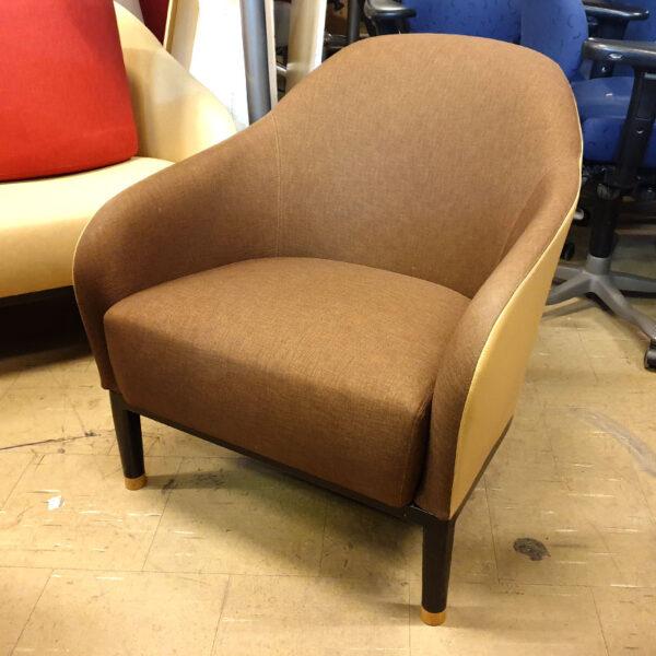 Fåtöljer Johanson Design Edith - brunt tyg och ljusgult läder