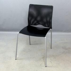 Begagnade svarta stolar med meshrygg